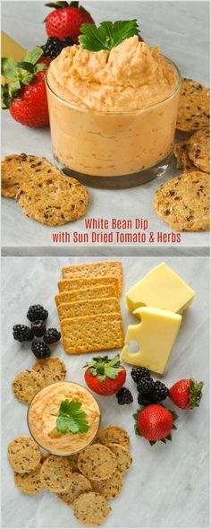 White Bean Dip with Sun Dried Tomato & Herbs - a vegetarian dip that's a flavourful alternative to hummus. An easy party dip for veggies, chips or crackers.