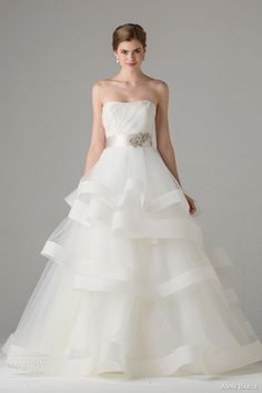 anne barge bridal fall 2015 castellane strapless wedding dress a line tiered skirt