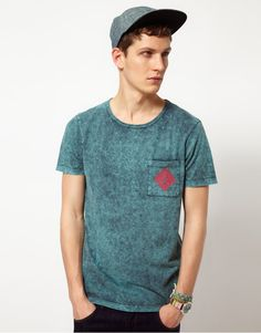 Washed t-shirt by ASOS. Constructed in cotton with an oil washed finish. Featuring a rib insert crew neck, short sleeves, a patch pocket to the chest and a surf print to the reverse.   [$20.00]
