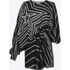 Saint Laurent Black And White Star Print Draped Side Asymmetrical Mini... (56.325 ARS) ❤ liked on Polyvore featuring dresses, black and white dress, long sleeve dress, asymmetrical draped dress, black and white asymmetrical dress and long sleeve asymmetric dress