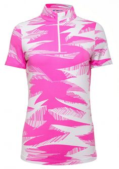 Pink/White Ibkul Ladies & Plus Size Stormi Print Short Sleeve Mock Neck Golf Shirt
