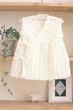 White dress with Tie Closures free crochet graph pattern