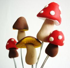 Mushrooms miniature plant decoration handmade by JustFingerPrint, $6.00