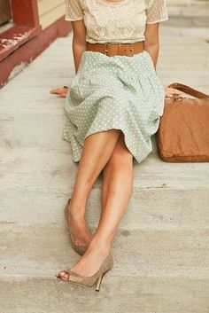 Women's Beige Lace Crew-neck T-shirt, Mint Polka Dot Midi Skirt, Gold Leather Pumps, Brown Leather Tote Bag