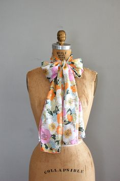 silk scarf / floral scarf / Pastel Poppies scarf