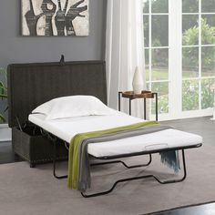 Sleeper Ottoman with Nailhead Trim Dove Grey - Walmart.com - Walmart.com Folding Guest Bed, Folding Beds, Sleeper Ottoman, Ottoman Bed, Twin Sleeper Chair, Guest Bedroom Office, Cozy Bedroom, Small Couch In Bedroom, Bedroom Ideas