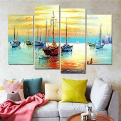 Drop-shipping Sail Boat Paintings Cuadros Decoracion Wall Art Canvas Pictures for Living Room Nordic Home Decor Unframed 4 Panel Diy Canvas, Canvas Wall Art, Multi Canvas Painting, Art Pour Salon, Sailboat Painting, Metal Tree Wall Art, Living Room Pictures, Canvas Pictures, Wall Pictures