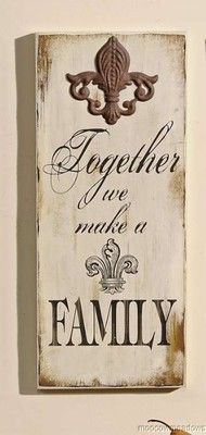 New FLEUR-DE-LIS & FAMILY PLAQUE French Country Wall Decor Accent Picture Art