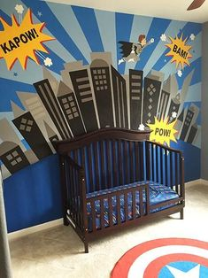 SUPERCity Wall Mural Now you can have your own SUPERcity backdrop to encourage the imagination of your little superhero. Complete with a Batman-esque hero of its own, his imagination will run wild. Batman Room, Superhero Room, Batman Batman, Baby Boy Rooms, Baby Room, Incredible Kids, Kids Bedding Sets, Kids Bedroom, Bedroom Loft