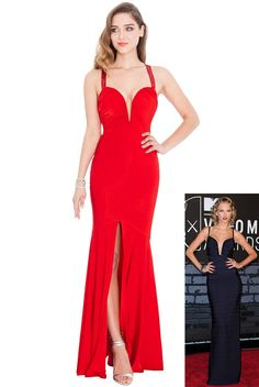 Plunge Neck Front Split Maxi Dress - Red - Front - DR389