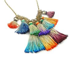 Colorful Bohemian Tassel Statement Necklace by osofreejewellery