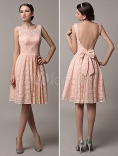 2016 Short Lace Illusion Scoop Back Bridesmaid Dress With Bow