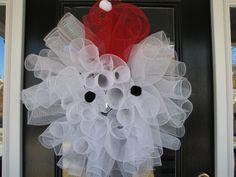 Santa Claus Ho Ho Ho Wreath  Christmas Mesh Wreath by DoorKandy