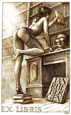 An ex-libris, bookplate, i made for a client. Ex Libris - The library Ex Libris, Comics Vintage, Drawn Art, Sexy Drawings, Art Et Illustration, Pulp Art, Pin Up Art, Erotic Art, Female Art