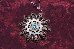 Copper steam punk star burst gear necklace on etsy