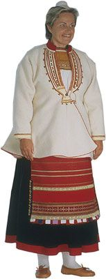 Traditional Finnish folk costume, a woman´s dress representing the region of Muolaa, part of former Finland, today belonging to Russia.