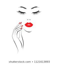 Beautiful Girl Face Red Lips Lush stockvector (rechtenvrij) 1121613893 Beauty Logo, Beauty Art, Beauty Makeup, Lip Logo, Nail Salon Design, Eyelash Logo, Red Manicure, Makeup Artist Logo, Nail Room