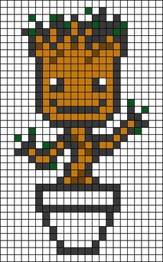 Groot Marvel Perler Bead Pattern                                                                                                                                                     More