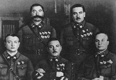 The first Marshals of the Soviet Union, 1935. Sitting are Mikhail Tukhachevsky, Kliment Voroshilov, and Aleksandr Yegorov. Standing are Semyon Budyonny and Vasily Blyukher.
