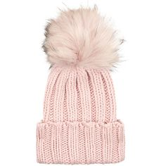 Inverni Pink Cashmere Fur Bobble Hat ($240) ❤ liked on Polyvore featuring accessories, hats, beanie, ski hat, cashmere hats, bobble hat, bobble beanie and fox fur hat