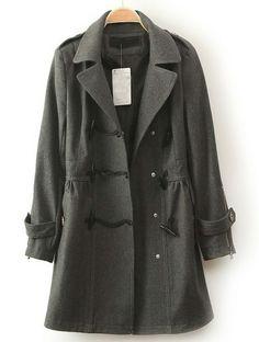 Grey Lapel Long Sleeve Horn Button Pockets Coat