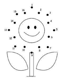 The happy flower in this printable dot to dot puzzle has a smiling face, two leaves and lots of petals. It is perfect for people who like flowers or gardening. Free to download and print