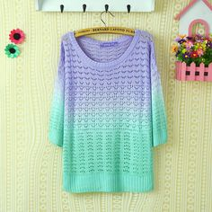 A 081904 Colorful gradient hollow pullover sweater http://www.luulla.com