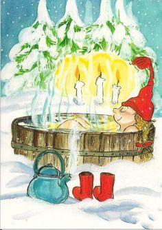 Talvipäivän lämmittelyä (Winter day's warm-up) Virpi Pekkala, Finland Magical Christmas, Very Merry Christmas, Christmas Art, Xmas, Christmas Illustration, Cute Illustration, Christmas Graphics, Illusion Art, Winter Art