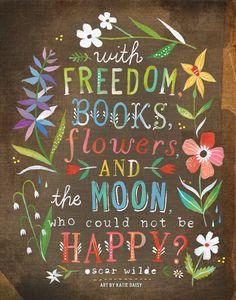 Bloemen en de maan Art Print Hand geletterden door thewheatfield