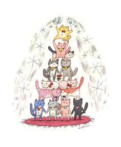 "Meowy Christmas! Illustration by ©seo kim: "" new take on an old idea. mew mew mewy kwismas """