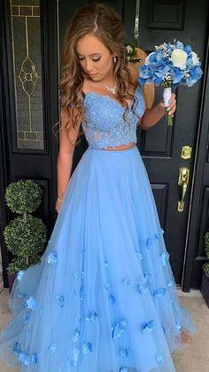 Blue Lace Prom Dress, Baby Blue Prom Dresses, Prom Dresses Two Piece, Prom Dresses Blue, Dance Dresses, Dress Lace, Sweet 16 Dresses Blue, Two Piece Quinceanera Dresses, Prom Dresses Flowers