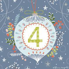 Flora Waycott Christmas Advent DAY 4 - A cheerful Christmas bauble decoration x Christmas Mood, Noel Christmas, 12 Days Of Christmas, Christmas Baubles, Vintage Christmas, Christmas Crafts, Christmas Calendar, Christmas Countdown, Advent Calenders