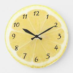 Shop Yellow Lemon Kitchen Clock created by Everything_Grandma. Lemon Kitchen Decor, Yellow Kitchen Decor, Kitchen Themes, Kitchen Ideas, Yellow Kitchen Accessories, Kitchen Inspiration, Yellow Kitchen Accents, Yellow Wall Decor, Yellow Home Decor
