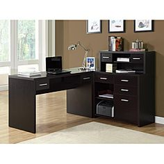 @Overstock - Freshen up your work space with this wooden space saver desk. Its L shape makes a stylish, professional statement and it features ample storage options for business essentials, a spacious desk for working and a classic cappuccino finish. I wish it came in a lighter color. A bit masculine.