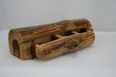 Wood log box with secret compartment Log stash by FlashBackCloset