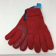 1483a9444 Isotoner Red SmarTouch Knit Gloves Warm Winter Driving Everyday One Size New