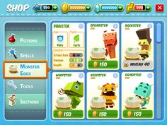 Monster Life UI by Alex Lan, via Behance