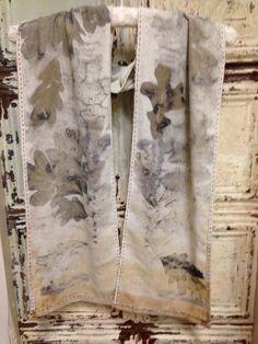 botanical dyed silk noil scarf