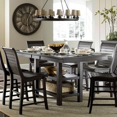 Progressive Furniture Willow Rectangular Counter Height Dining Table - P808-12B/12T