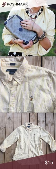 "RALPH LAUREN POLO oxford✨ Yellow and white striped. In excellent used condition! Shoulder to hem is 27"". Pit to pit is 21"". Polo by Ralph Lauren Tops Button Down Shirts"