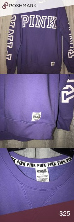 """Victoria Secret Pink pull over hoodie Purple pull over with """"pink"""" on sleeves and chest. Never been worn PINK Victoria's Secret Tops Sweatshirts & Hoodies"""