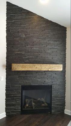 11 Stone Veneer Fireplace Surround Design Trends & Where To Buy - Annika DIY Ledge Stone Fireplace, Tiled Fireplace Wall, Slate Fireplace Surround, Reface Fireplace, Concrete Fireplace, Farmhouse Fireplace, Home Fireplace, Fireplace Remodel, Modern Fireplace