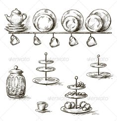 Hand Drawn Illustration of Kitchen Utensils ...  Kitchen Equipment, Tea Kettle, bakery, black and white, cooking, cup, dessert stand, dish, drawing, food, fruit, hand drawn, isolated, kettle, kitchen, line art, muffin, old, plate, retro, saucer, set, shelf, sketch, sweets, tray, utensil, vector, vintage