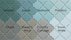 Jasper Arabesque Glass Mosaic Tiles snow white pacifica seafoam
