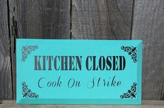 Kitchen Sign  Kitchen Wood Sign  Blue Sign  by StephsJarsandThings