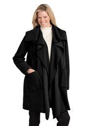 Plus Size Fleece wrap jacket has cascading collar