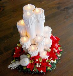 MAKE THIS OUT OF USED TOILET ROLLS AND BATTERY OPERATED LED CANDLES