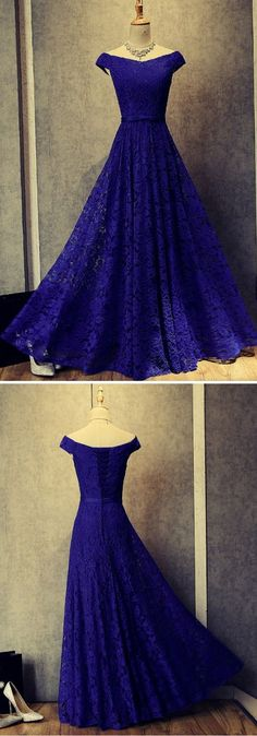 Beautiful Blue Lace Prom Dresses, Elegant Long Evening Dress