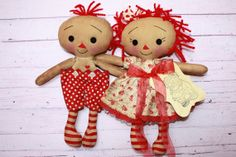Valentine's Day Primitive Raggedy Ann and Andy by HeartstringAnnie, $42.00