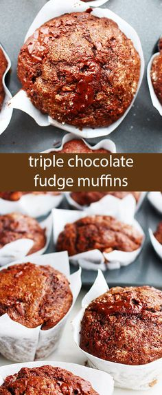 These Triple Chocolate Fudge Muffins are loaded with cocoa powder, milk chocolate chunks and dark chocolate chunks. The coffee and the buttermilk in this recipe keeps the muffins incredibly tender. via @tastesoflizzyt